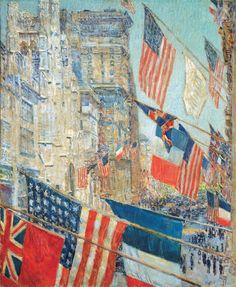 "Even before the United States entered the war, Hassam was already painting the American flag alongside those of the Allies, portraying for instance a 1916 ""Preparedness Parade"" in New York City. Description from vexillophilia.blogspot.se. I searched for this on bing.com/images"