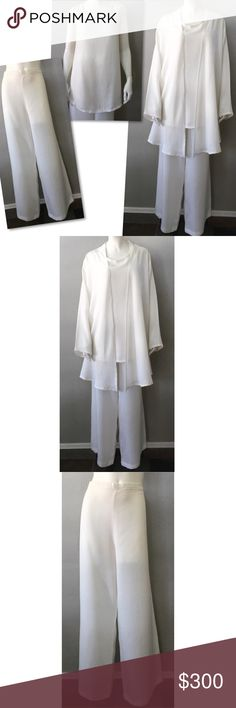 07df978f BRYN WALKER WHITE PANTS TOP JACKET SUIT SET L NWT BRYN WALKER WHITE PANTS  TOP JACKET