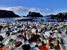 """""""Glass Beach"""" is on the Mendocino Coast in Fort Bragg, California, 120 miles north of San Francisco. Believed to have the highest concentration of sea glass in the world."""