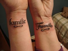 Familie = Dutch  My younger brother and I both got it to symbolize our heritage and love for family. Probably one of the most meanful tats I have