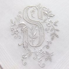 Vintage Linen Handkerchief Monogram S from Madeira by LinensandThings, sold Embroidery Monogram, Monogram Design, Monogram Fonts, White Embroidery, Embroidery Patterns, Hand Embroidery, Vintage Fabrics, Vintage Linen, Vintage Handkerchiefs