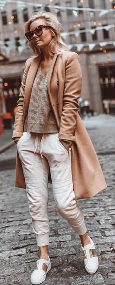 #winter #outfits gray v-neck shirt, brown long-sleeved cardigan, and white pants