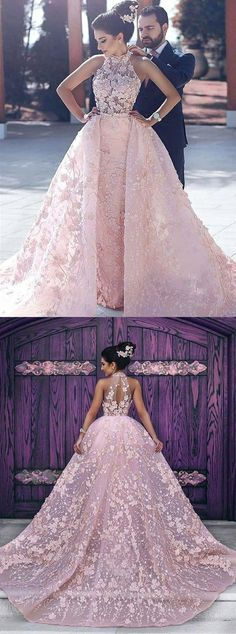dreamy pink prom gowns, chic key hole back evening dresses, halter prom party dresses with appliques.