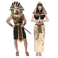 c6f1071c4 Barato Novos Adultos Casal Roupas Cleopatra Egípcio Faraó Rei Fantasia  Mulheres Vestido Exótico Casal Trajes Do