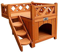 OPEN BOX Confidence Pet Wooden Dog House / Kennel with Balco.- OPEN BOX Confidence Pet Wooden Dog House / Kennel with Balcony Your pet is going to love this, and love you for buying it! Online Pet Supplies, Dog Supplies, Wooden Cat House, House With Balcony, Roof Balcony, Niches, Cat Climbing, Dog Rooms, Wooden Playhouse