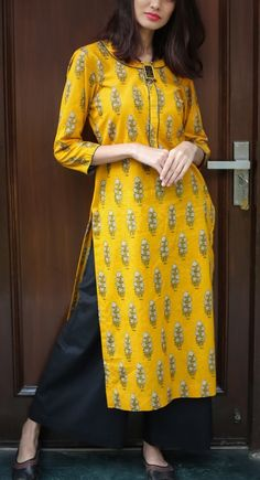 Mustard floral Boota Tunic Pant Set - SUMMER BRIGHTS - Clothing Designers - Designers