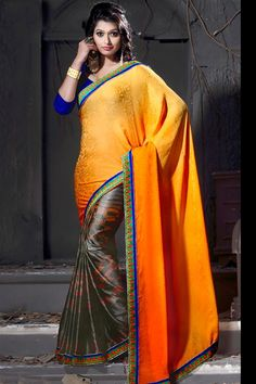 Amazing Orange, Grey Jacquard Printed Saree with Lace Border