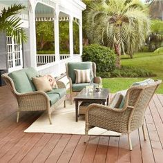 Hampton Bay Lemon Grove 4 Piece Wicker Outdoor Patio Conversation Set With  Surplus Cushions