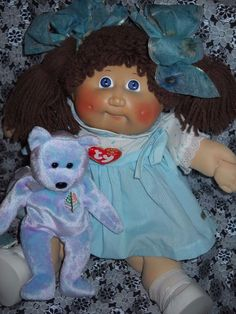 "ADORABLE 1982 Vintage OAA Cabbage Patch 18"" Doll TY Bear"