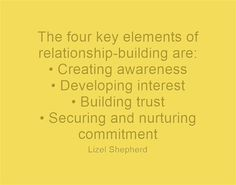 The four key elements of relationship-building are: Marriage Box, Relationship Building, Meaningful Words, Fundraising, Diva, Trust, Relationships, Key, Reading