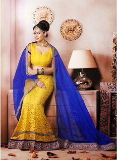 Exotic Yellow Color Net Based #Lehenga_Choli