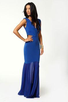 Eva Crossover Front Fishtail Maxi Dress
