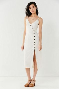 Urban Outfitters Amber Button-Down Linen Midi Dress