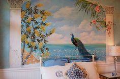 Decorative Painting-Peacock Mural by Margaret Le Van, via Behance