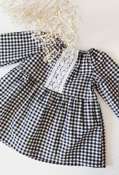 Handmade Gingham & Lace Dress | bellasparty on Etsy