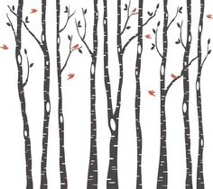 11 Birch Trees Wall Decal Forest Living Room 2 by AmericanDecals