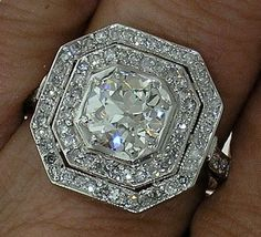 Art Deco Platinum Ring with Diamond