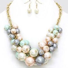 Pearl Crystal Cluster Bib Necklace | ... -Pink-Mint-Cream-Gray-Pearl-Bead-Cluster-Bib-Gold-Chain-Necklace-Set