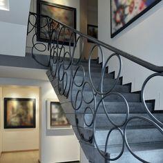 Staircase railing by Pouenat Ferronnier Metal Stair Railing, Stair Railing Design, Stair Handrail, Staircase Railings, Staircases, Staircase Interior Design, Escalier Design, Modern Stairs, Paris Apartments