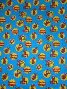 Blue/Yellow Curious George Playing Cotton Fabric by the Yard