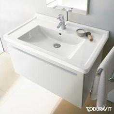 Duravit Starck 3 Möbelwaschtisch weiß mit Wondergliss 1 Hahnloch mit Überlauf