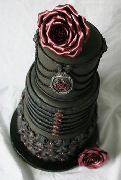 Black vintage style Wedding Cake with rose detail