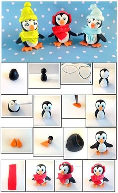 Penguin tutorial by sweet jana sugar art More of a wintery kind of fondant.Cute penguins - fimo or fondantStep By Step Tutorial On How To Make Cute Penguins Using Sugarpaste. Polymer clay tutorial for Christmas ornament. Christmas Cake Topper, Christmas Cake Decorations, Fondant Decorations, Christmas Cupcakes, Christmas Ornament, Cake Topper Tutorial, Fondant Tutorial, Polymer Clay Christmas, Polymer Clay Crafts