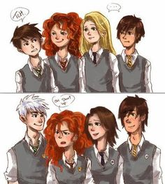 The Big Four refers, in the fan community, to crossovers between Jack Frost, Rapunzel, Merida (of Brave fame) and Hiccup (of Dragons  fame...