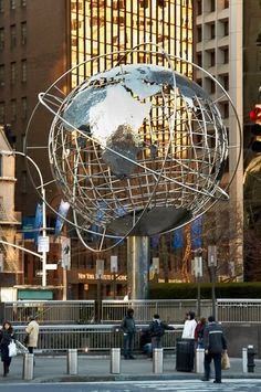 Globe Sphere outside Trump Towers. Columbus Circle, New York, New York.