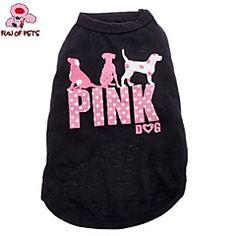 Gatos+Perros+Camiseta+Negro+Ropa+para+Perro+Verano+Primavera/Otoño+Letra+y+Número+Moda+–+USD+$+12.99