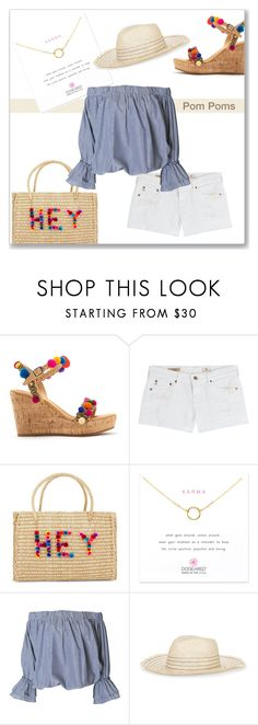 """Hey! Pom Poms"" by idocoffee ❤ liked on Polyvore featuring AG Adriano Goldschmied, Nannacay, Dogeared, Tory Burch, shorts, sandals, tote and polyvoreeditorial"
