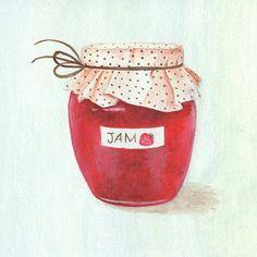 Strawberry Jam Kitchen Art Art Print 8x8 by TinyRed on Etsy