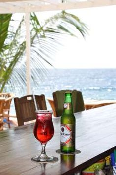 Time for a refreshing drink at our Ocean front bar at Scuba Lodge in Pietermaai District, Willemstad, Curacao