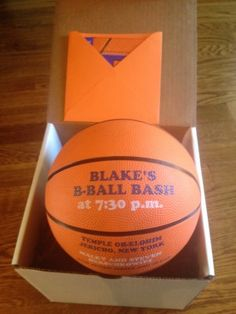 Invitations - Each Bar Mitzvah guest received a box with an actual basketball invite! Bar Mitzvah Centerpieces, Bar Mitzvah Themes, Bar Mitzvah Party, Bar Mitzvah Invitations, Birthday Party Invitations, Birthday Bash, Wedding Invitations, 11th Birthday, Birthday Ideas