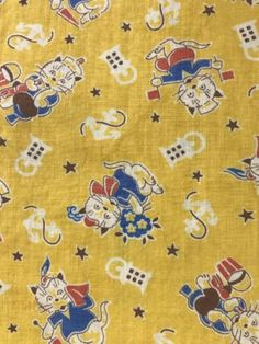 NU-Vintage-cotton-feed-sack-fabric-bag-Novelty-yellow-cats-kittens-umbrella