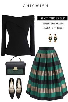 Cheers Stripes Pleated Midi Skirt in Green green XS Mode Outfits, Skirt Outfits, Fall Outfits, Casual Outfits, Look Fashion, Womens Fashion, Fashion Trends, Green Fashion, Trendy Fashion