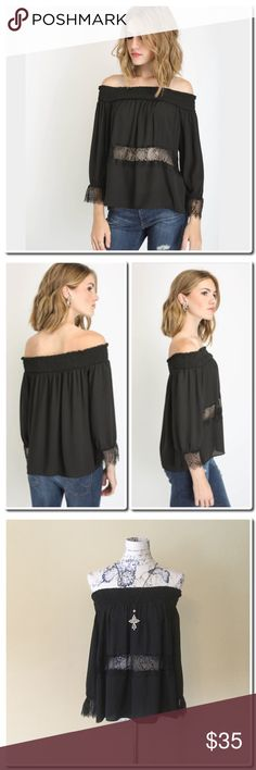 """NWOT Lace Inset Off Shoulder Top Off-shoulder top Lace inset accents ¾ sleeves Relaxed fit Black Self: 100% polyester, Contrast: 100% nylon Hand wash cold, tumble dry low Measures approximately 19"""" from shoulder Model shown wearing size small (S) Tops Blouses"""