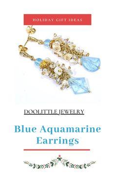 Aquamarine Earrings, Aquamarine Gemstone, Gemstone Jewelry, Birthstones, Holiday Gifts, Dangles, Gemstones, Pearls, Handmade