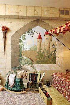 """most awesome kid's room ever - love the trompe l'oeil """"window"""""""