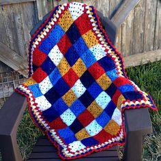 Ravelry: kathy862's Red, White & Blues Granny Square Blanket