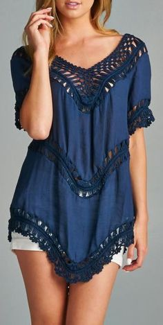 Navy Tunic with Relaxed Crochet Neckline and Lining