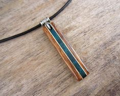 Leather Bar Necklace Wood Bar Necklace With Teal Accents And
