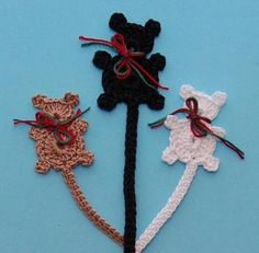 Free Crochet Patterns- teddy bear book mark, could be used in a teddy bear motif/granny square