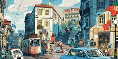 "Lisbon, Portugal by Sam Bosma. Part of Light Gray Art Lab's ""In Place"" exhibition. http://lightgreyartlabshop.bigcartel.com/product/lisbon-by-sam-bosma"