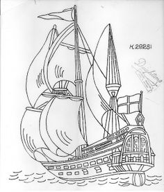 It's the coolest of the coolest. Colouring Pages, Adult Coloring Pages, Coloring Books, Hand Embroidery Designs, Embroidery Patterns, Quilt Patterns, Ship Drawing, Line Drawing, Deco Pirate