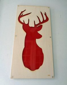 Plywood Deer and Recycled Aluminum in Red by mannmadedesigns