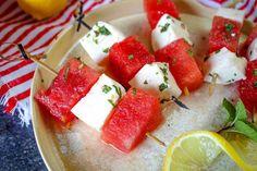 Watermelon Mozzarella Salad #lemon #honey #pepper #BBQ #Summer #mint #mozzarella #parties #watermelon #Kid Friendly #salad #justapinchrecipes