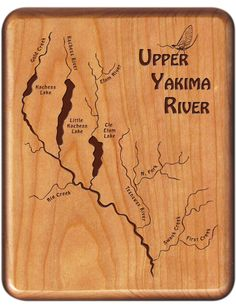 Glacier National Park River Map Fly Box - Montana - Established as a National Park in 1910 - Established as an International Peace Park in 1932 Fishing Hole, Fly Fishing, Fort Collins, Custom Engraving, Laser Engraving, Fish Artwork, Playing Card Box, Rock Creek, Map Design