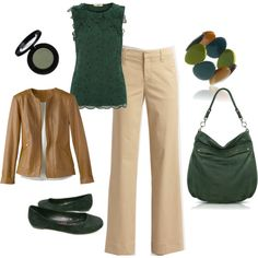 Green and khaki business casual, created by ladynutter.polyvore.com