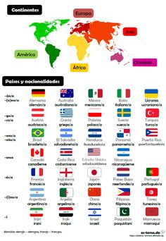 Aprende vocabulario de países y nacionalidades, ¿de dónde eres tú?